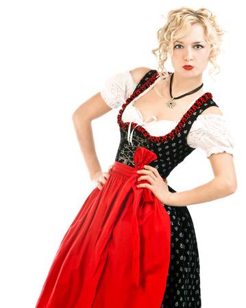 Deutsch Frau in typisch bayerischer Tracht Dirndl Oktoberfest auf weißem Hintergrund