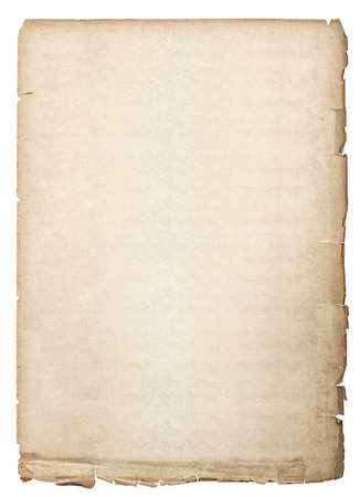 antique book page  old paper sheet isolated on white background Banque d'images