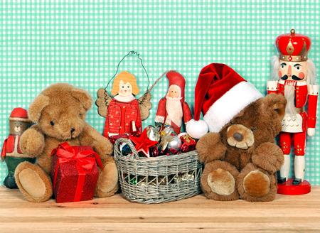 nostalgic christmas decoration with antique toys  retro style picture photo