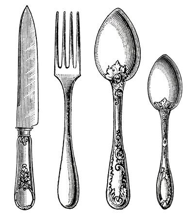 cuchillo y tenedor: Cuchillo de plata de la vendimia, Tenedor y cuchara de grabado en el fondo blanco Foto de archivo