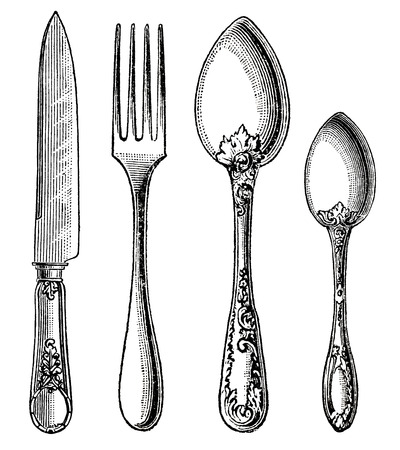 vintage cutlery: Vintage silverware  Knife, Fork and Spoon  engraving on white background
