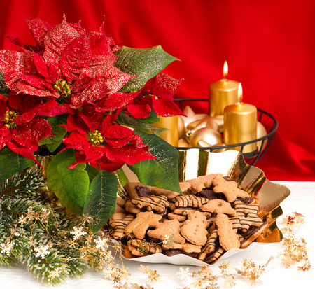 festive advent decoration with burning golden candles, poinsettia flower and christmas gingerbread cookies photo