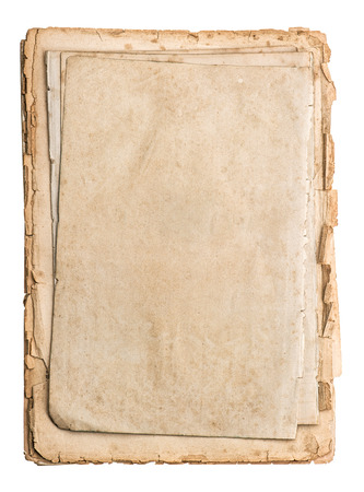 stack of old papers isolated on white background  antique book pages photo