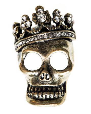 corona reina: reina o rey calavera con corona Fondo de Halloween Foto de archivo