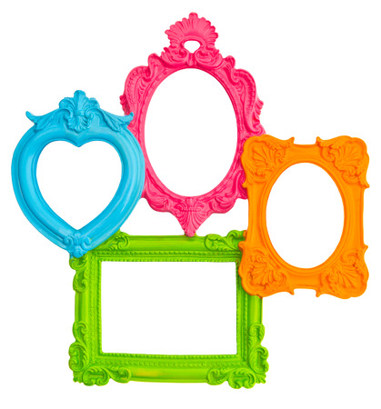 vintage style framework isolated on white background  multicolor frames for photo and picture  shabby chic photo