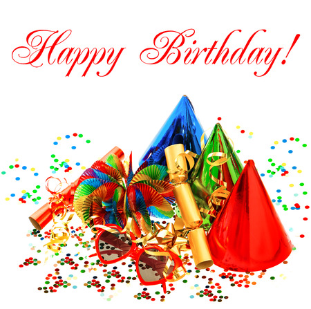 sample text: colorful carnival and birthday party decoration. garlands, streamer, cracker, glasses and confetti. card concept with sample text Happy Birthday!