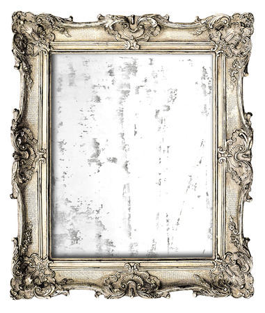 gild: old silver frame with empty grunge canvas for your picture, photo, image. beautiful vintage paint background