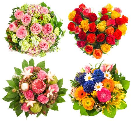 ramo de flores: Ramo de cuatro flores de colores para el cumplea�os, boda, del d�a de madres, d�a de San Valent�n, Navidad, A�o Nuevo. Rosas Foto de archivo