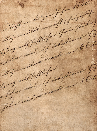 write background: vintage handwriting with undefined latin text. manuscript. parchment. grunge dark paper background Stock Photo