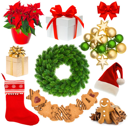 Decoration set of festive items isolated on white background. christmas wreath, hat, sock, gift box, baubles, gingerbread cookies photo