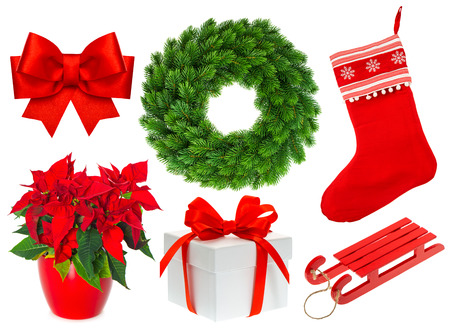 Christmas collection isolated on white background. Set with stocking, gifts, wreath, ribbon bow photo