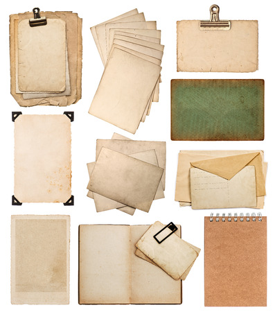 green frame: set of various old paper sheets. vintage photo album and book pages, cards, pieces isolated on white background Stock Photo