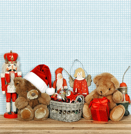 nostalgic christmas decoration with antique toys. retro style toned picture photo