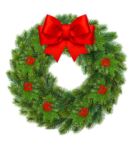 traditional green christmas wreath with holly berry and red ribbon bow isolated on white background. festive decoration photo