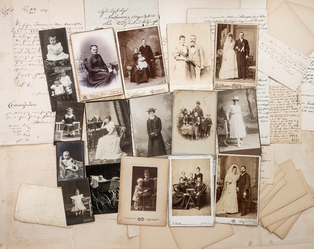 old letters and antique family photos. parents, grandfather; grandmother; children. nostalgic vintage pictures from ca. 1900 photo