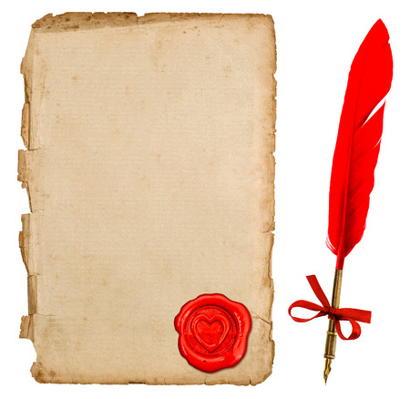 feather pen: aged paper sheet with red heart seal and vintage feather ink pen isolated on white background. retro handwriting accessories for love letters. Valentines Day concept