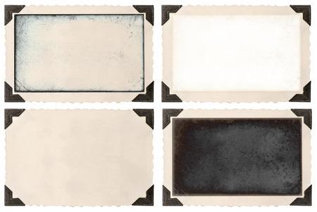 oude foto frame met hoek en leeg veld voor uw foto op een witte achtergrond Stockfoto