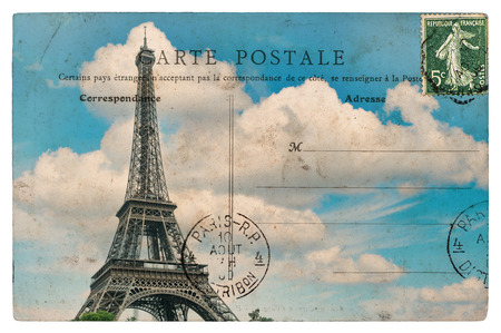 vintage paper texture: antique french postcard from paris with eiffel tower over blue sky Stock Photo
