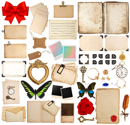 antique key: old book pages, paper sheets, cards, corner and photo frames isolated on white background. scrapbooking elements for holidays greetings Stock Photo