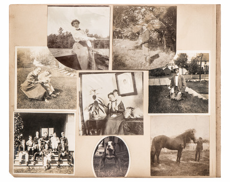 Vintage photo album page. Antique family and animals pictures from ca. 1880. Scrapbook photo