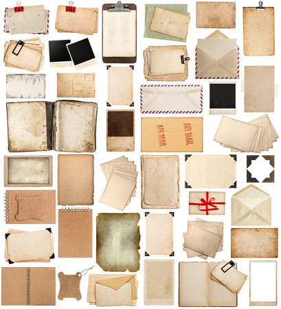 antique clipboard and photo corner, aged paper sheets, books, pages and old postcards isolated on white background. vintage photo frames photo