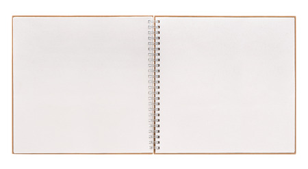 open book isolated on white background. notebook with spiral binder Stockfoto