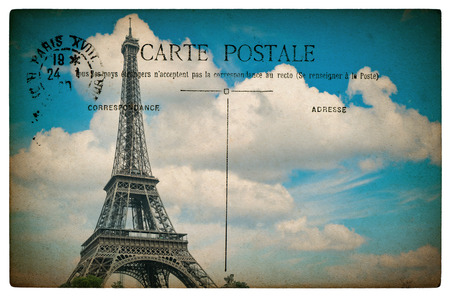 empty antique french postcard  from paris with eiffel tower and blue sky. vintage sentimental retro style paper background Stock Photo