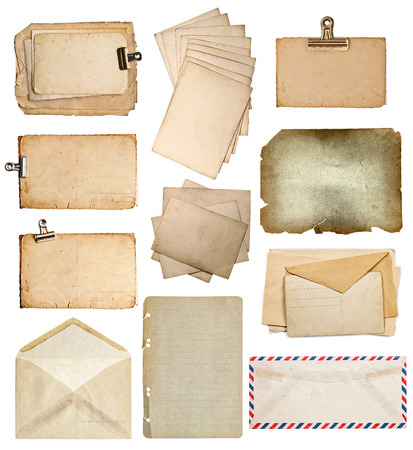 old envelope: set of various old paper sheets. vintage photo album and book pages, cards, envelopes isolated on white background