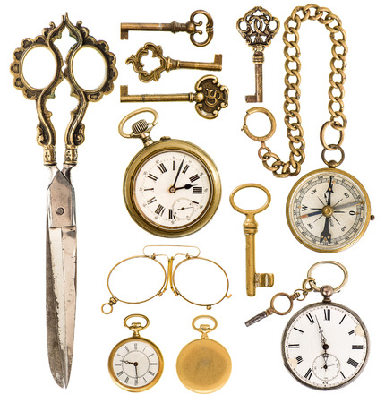 pattern antique: collection of golden vintage accessories. antique keys, clock, scissors, compass, glasses isolated on white background