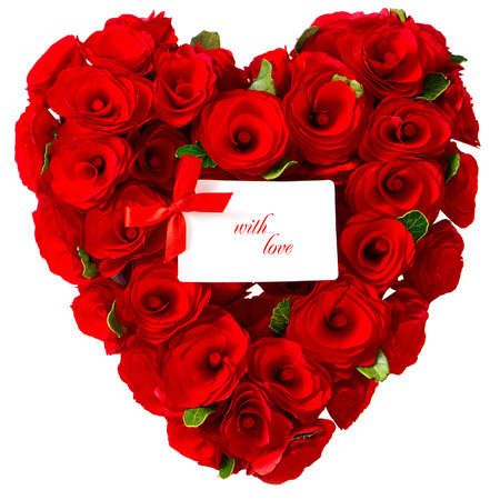 bunch of hearts: red heart of roses with white card for your text. sample text with love