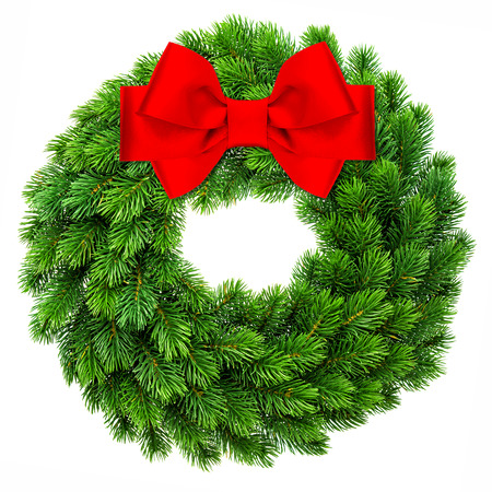traditional christmas: traditional christmas decoration evergreen wreath wit red ribbon bow isolated on white background