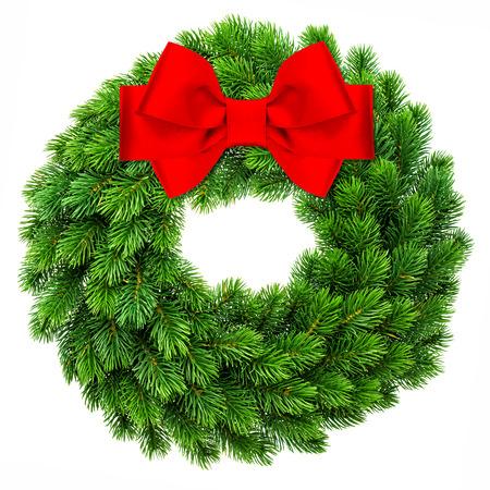 isolated  white: tradizionali evergreen decorazione della corona di natale arguzia rosso arco del nastro isolato su sfondo bianco