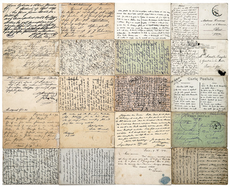 antique postcards. old handwritten undefined texts from ca. 1900. grunge vintage papers background. french carte postale Standard-Bild