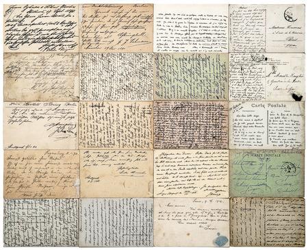 cartas antiguas: tarjetas postales antiguas. viejos textos indefinidos manuscritas de ca. 1900. grunge documentos de �poca de fondo. carte postale franc�s