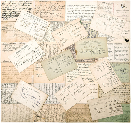 ephemera: vintage postcards. old handwritten undefined texts from ca. 1900. grunge retro style papers background