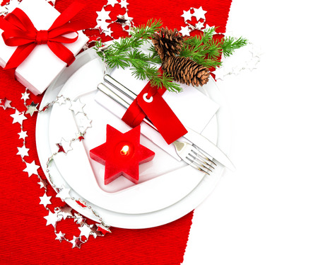 diner aux chandelles: f�te no�l endroit de table param�tre d�coration rouge et argent. d�ner l�ger bougie. f�tes