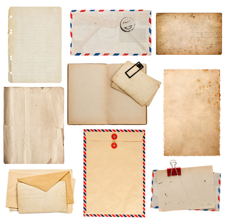old envelope: set of old paper sheets, book, envelope, card isolated on white  Stock Photo