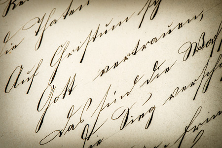 manuscript: vintage handwriting. antique manuscript. aged paper background. retro style toned picture Stock Photo