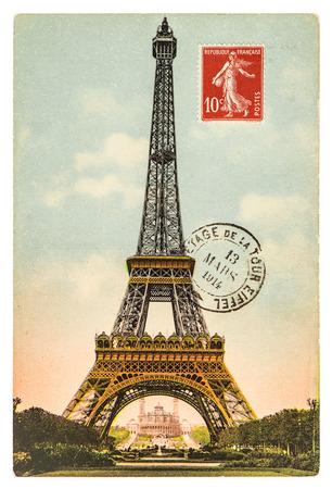 la tour eiffel: vintage postcard with Eiffel Tower (La Tour Eiffel) in Paris, France, circa 1914 Stock Photo