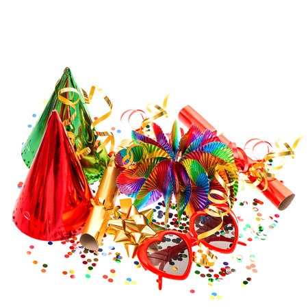 party popper: colorful decoration with garlands, streamer, cracker, party glasses and confetti. festive accessory background Stock Photo