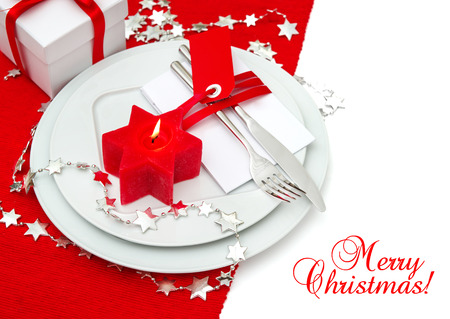 festive christmas table place setting decoration in red and silver candle light dinner holidays - Red And Silver Christmas Table Decorations