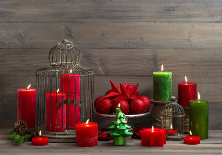 Vintage Christmas Background With Birdcage, Burning Candles And Baubles.  Nostalgic Home Interior Decoration Photo