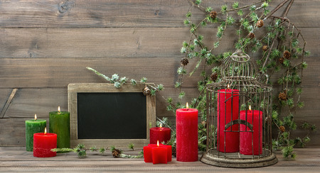 Stock Photo   Vintage Christmas Decoration Birdcage, Red Candles And Pine  Branch. Nostalgic Home Interior With Blackboard On Wooden Background. Retro  Style ...