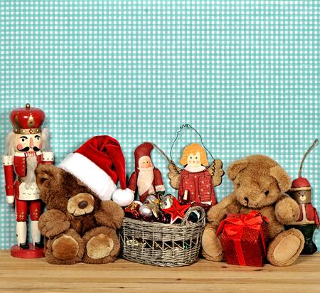 nostalgic christmas decoration with antique toys. vintage style picture photo