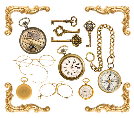 corner clock: set of golden vintage collectible accessories. antique keys, clock, compass, glasses, frame corner isolated on white background