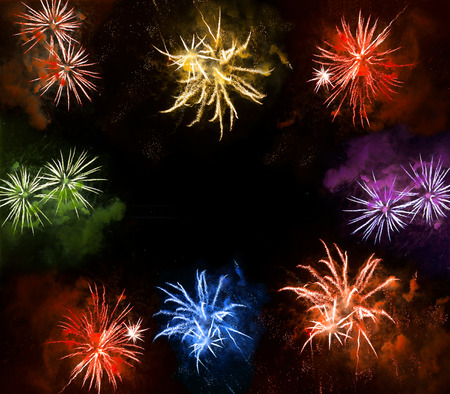 beautiful colorful fireworks exploding over a dark night sky. abstract festive background