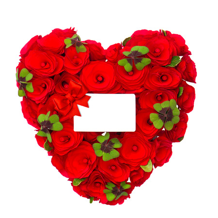 red heart of roses with clover leaves and white card for your text on white background. concept GOOD LUCK photo