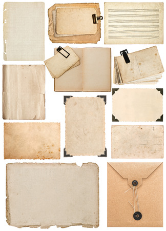 set of old paper sheet, bookpage, cardboard, envelope, photo frame with corner isolated on white background photo