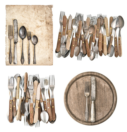 aged paper, kitchen board, antique kitchen utensils and vintage silver cutlery isolated on white background photo