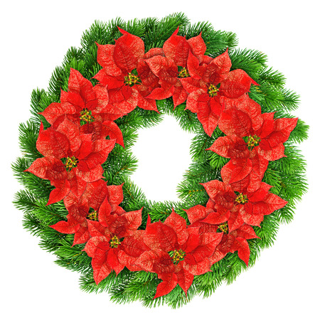 christmas wreath red poinsettia flowers isolated on white background photo
